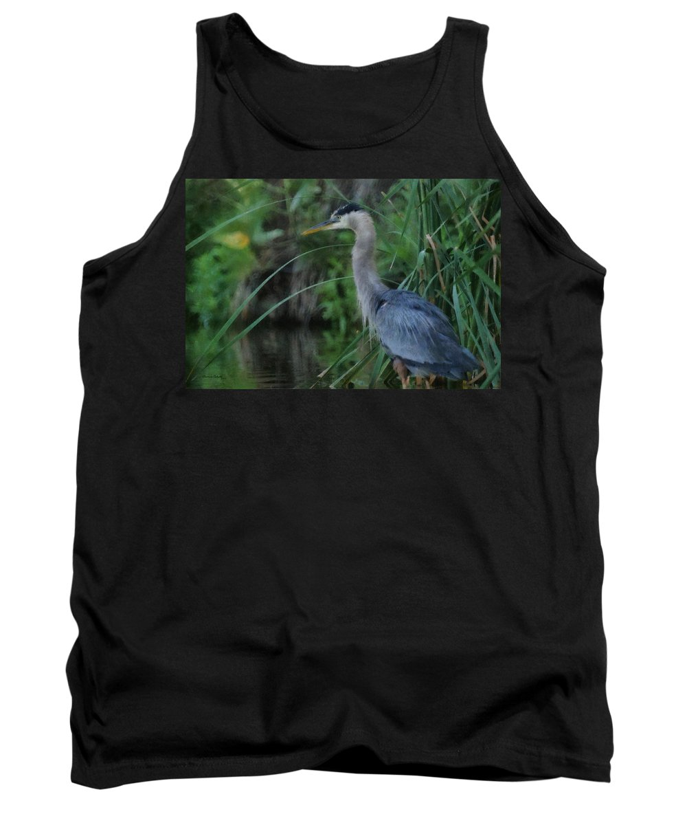 Animals Tank Top featuring the digital art Great Blue Heron Painterly by Ernie Echols