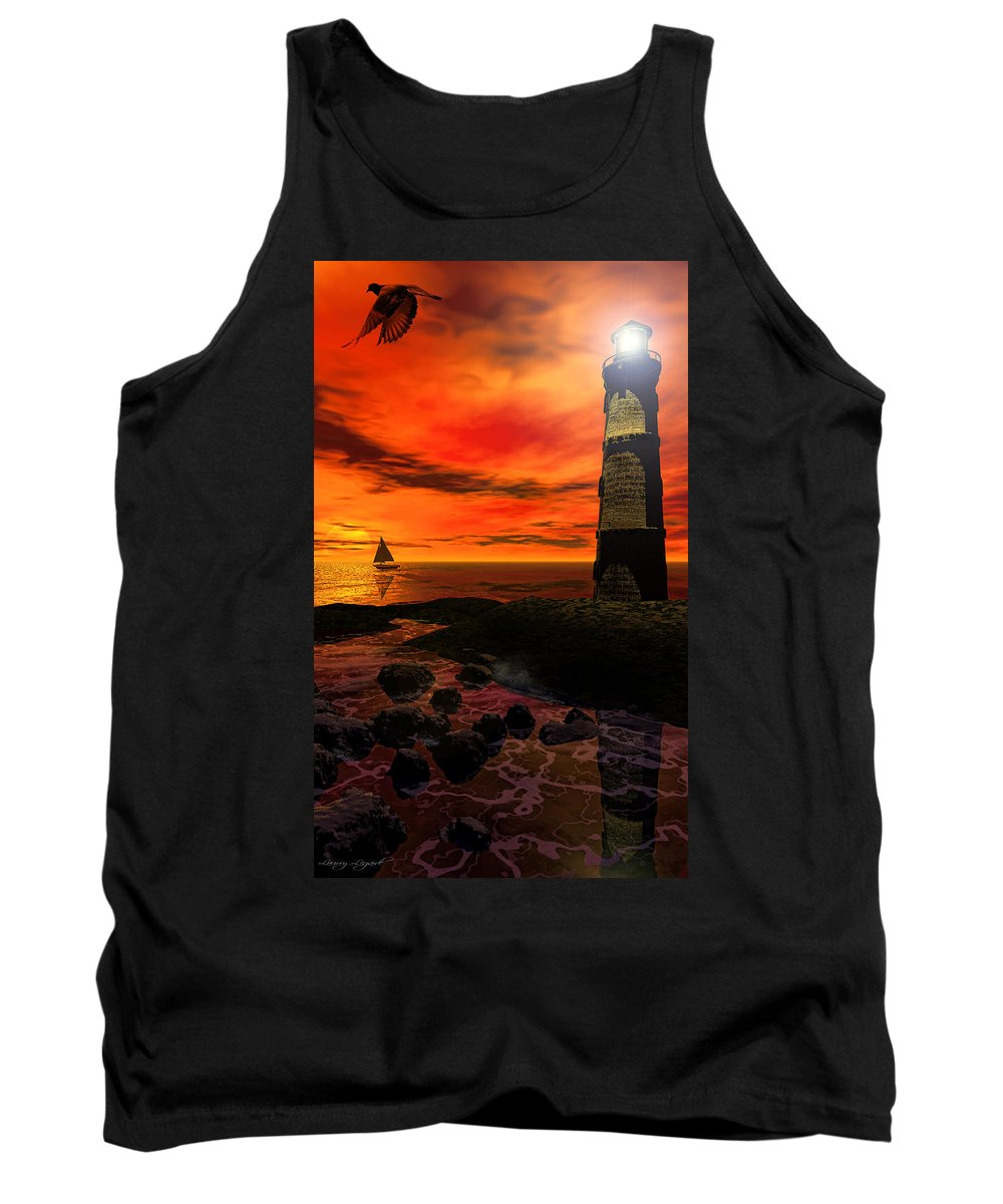 Lighthouse Tank Top featuring the photograph Guiding Light - Lighthouse Art by Lourry Legarde