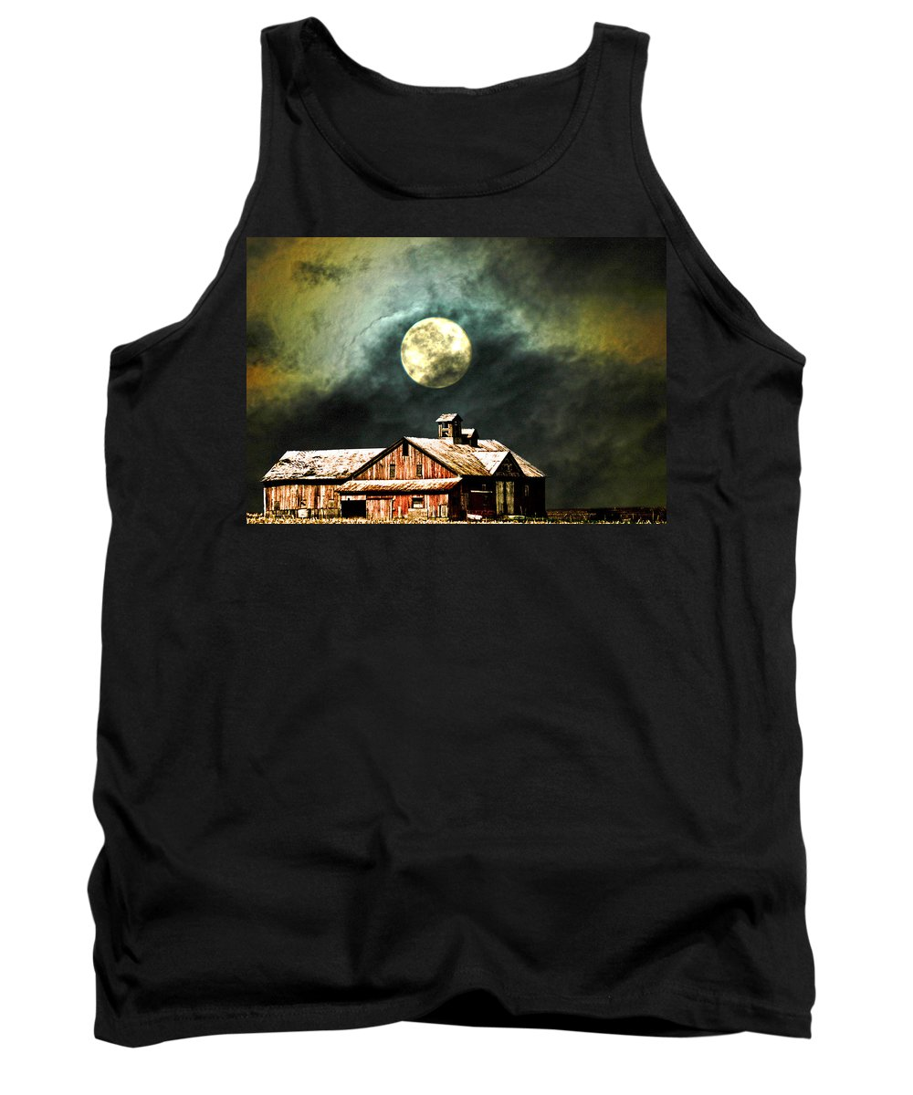 Moon Barn Tank Top featuring the photograph Hdr Moon And Barn by Randall Branham