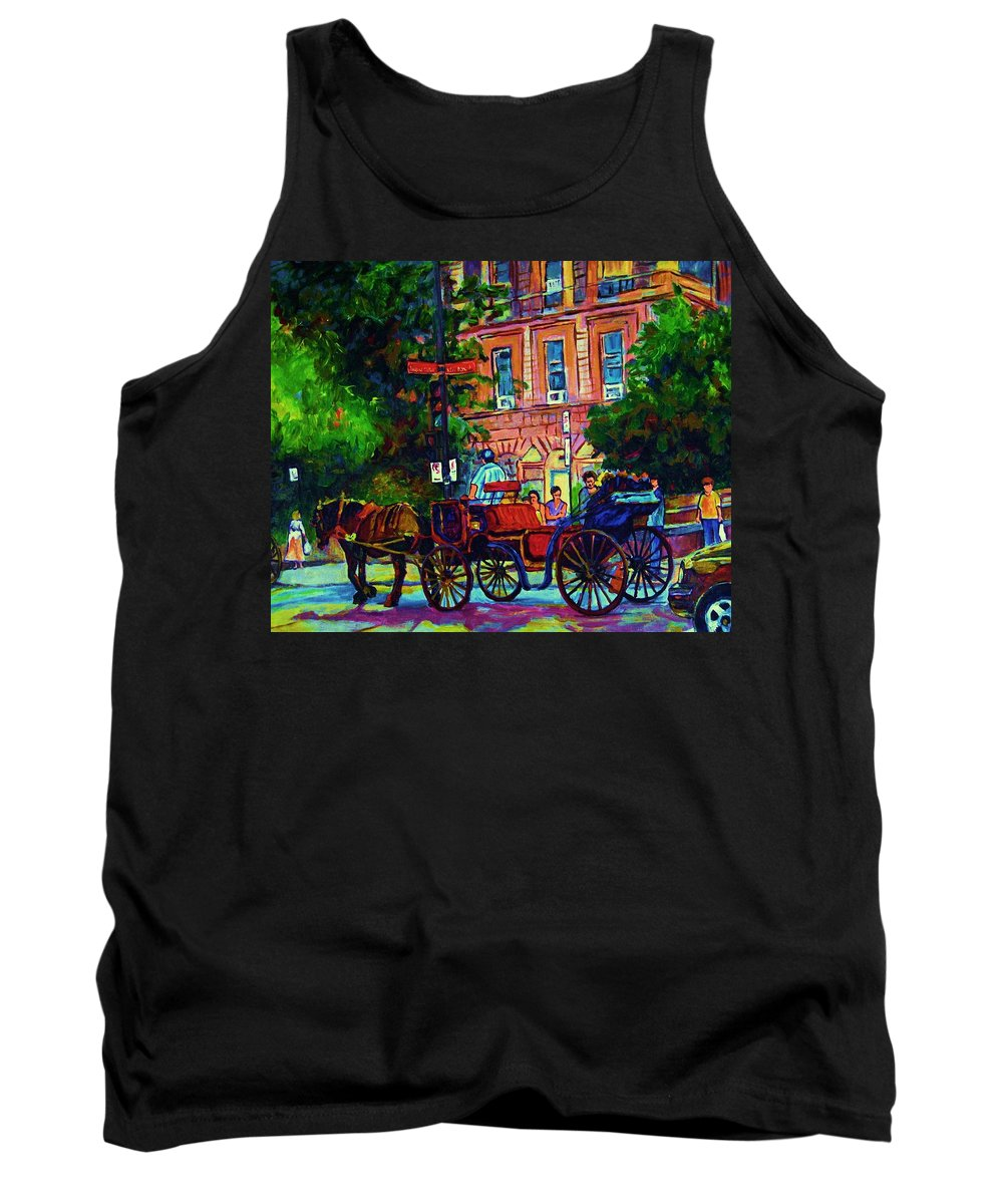 Rue Notre Dame Tank Top featuring the painting Horsedrawn Carriage by Carole Spandau