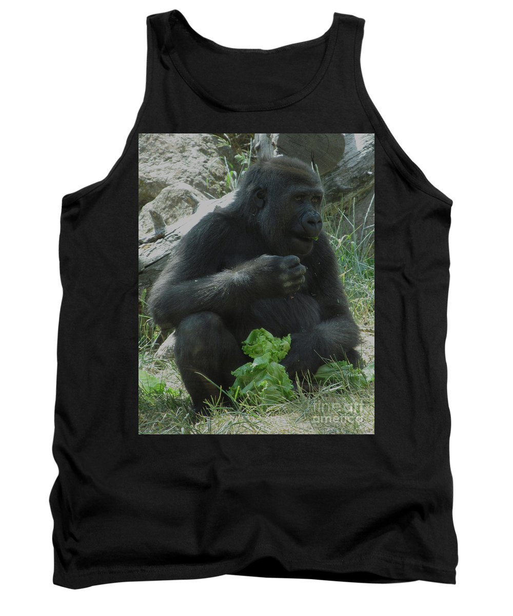 Gorilla Exhibition Nature Tank Top featuring the photograph I Love My Veggies by Greg Plamp