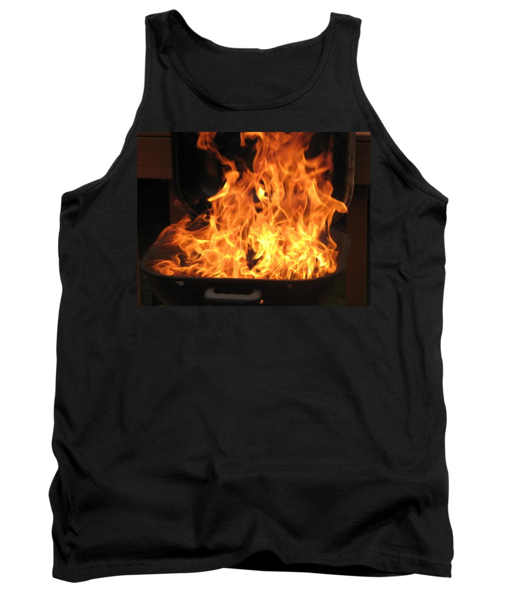Fire Tank Top featuring the photograph I Will Take That Burger Well Done Please by Richard Bryce and Family