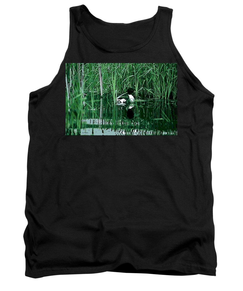 Bulrushes Tank Top featuring the photograph in the Bulrushes by George Pedro