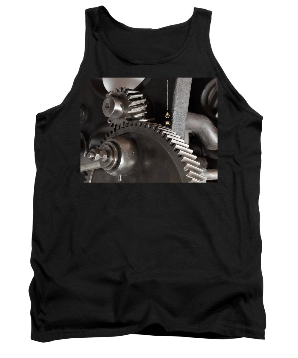 Still Life Tank Top featuring the photograph Industrial Gears Whith Oil Drops by Juan Carlos Ferro Duque