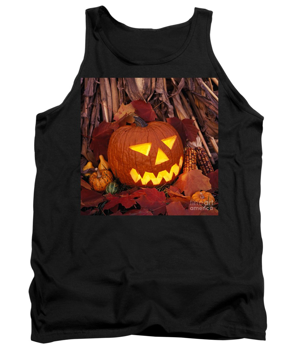 Jack-o-lantern Tank Top featuring the photograph Jack's Grim Grin - Fm000065 by Daniel Dempster