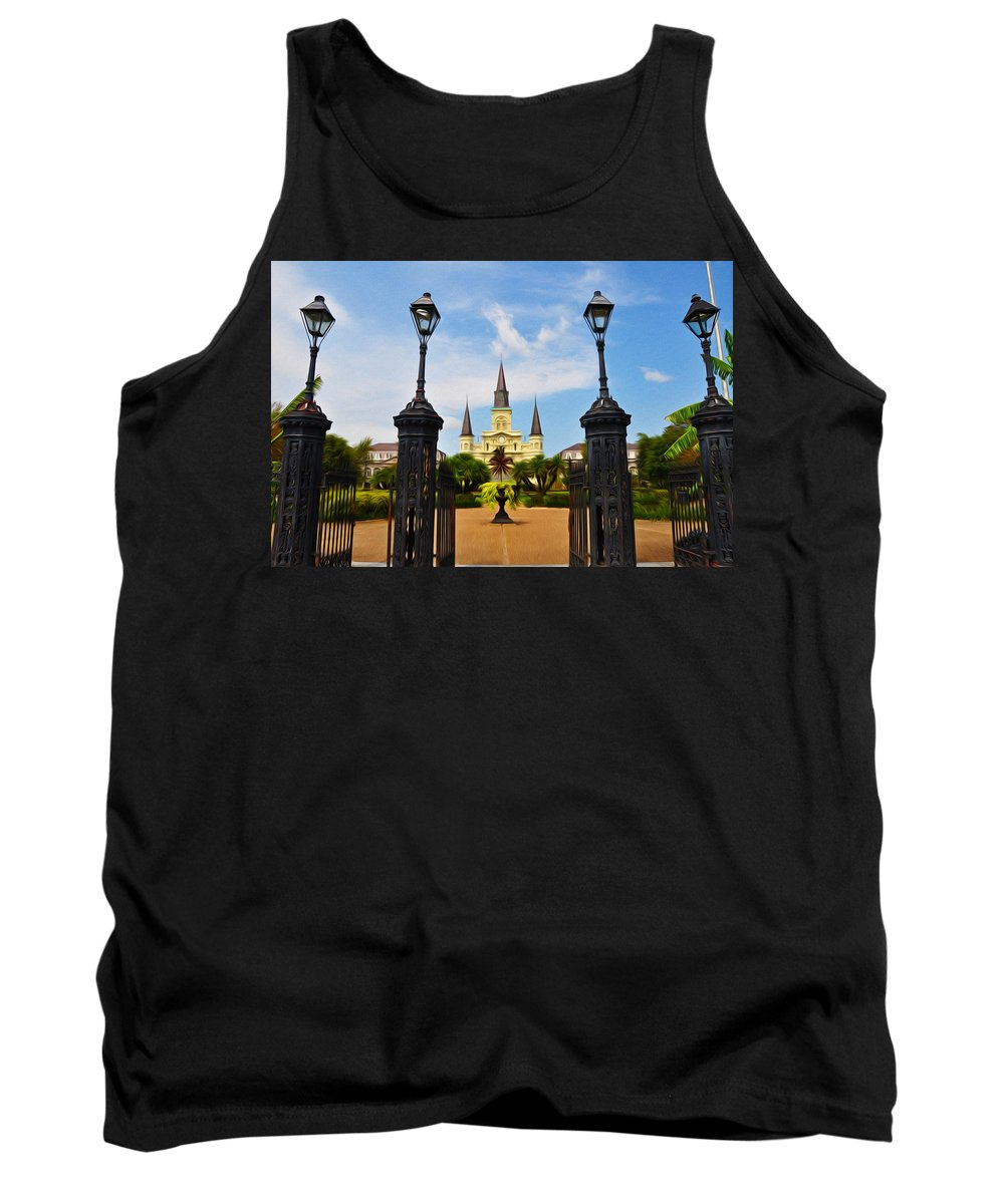 Jackson Square In New Orleans Tank Top featuring the photograph Jackson Square In New Orleans by Bill Cannon