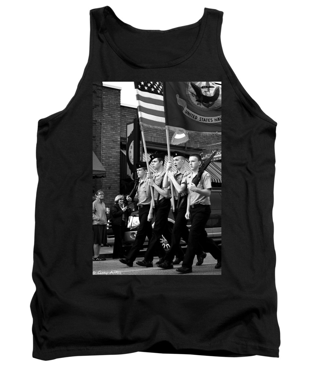 Parade Tank Top featuring the photograph Jrotc Carrying Flag In The Parade by Gray Artus