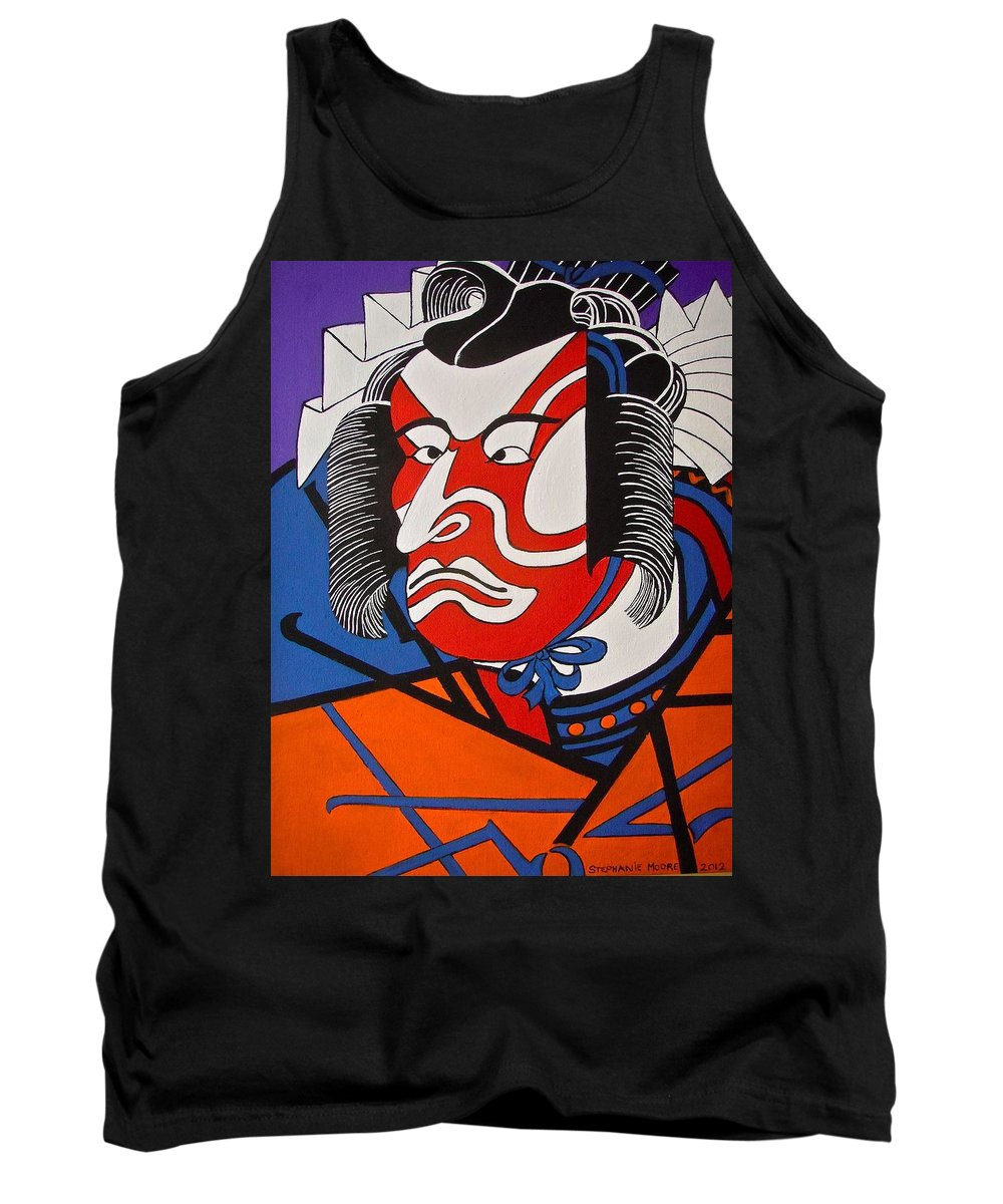 Japanese Tank Top featuring the painting Kabuki Actor 2 by Stephanie Moore