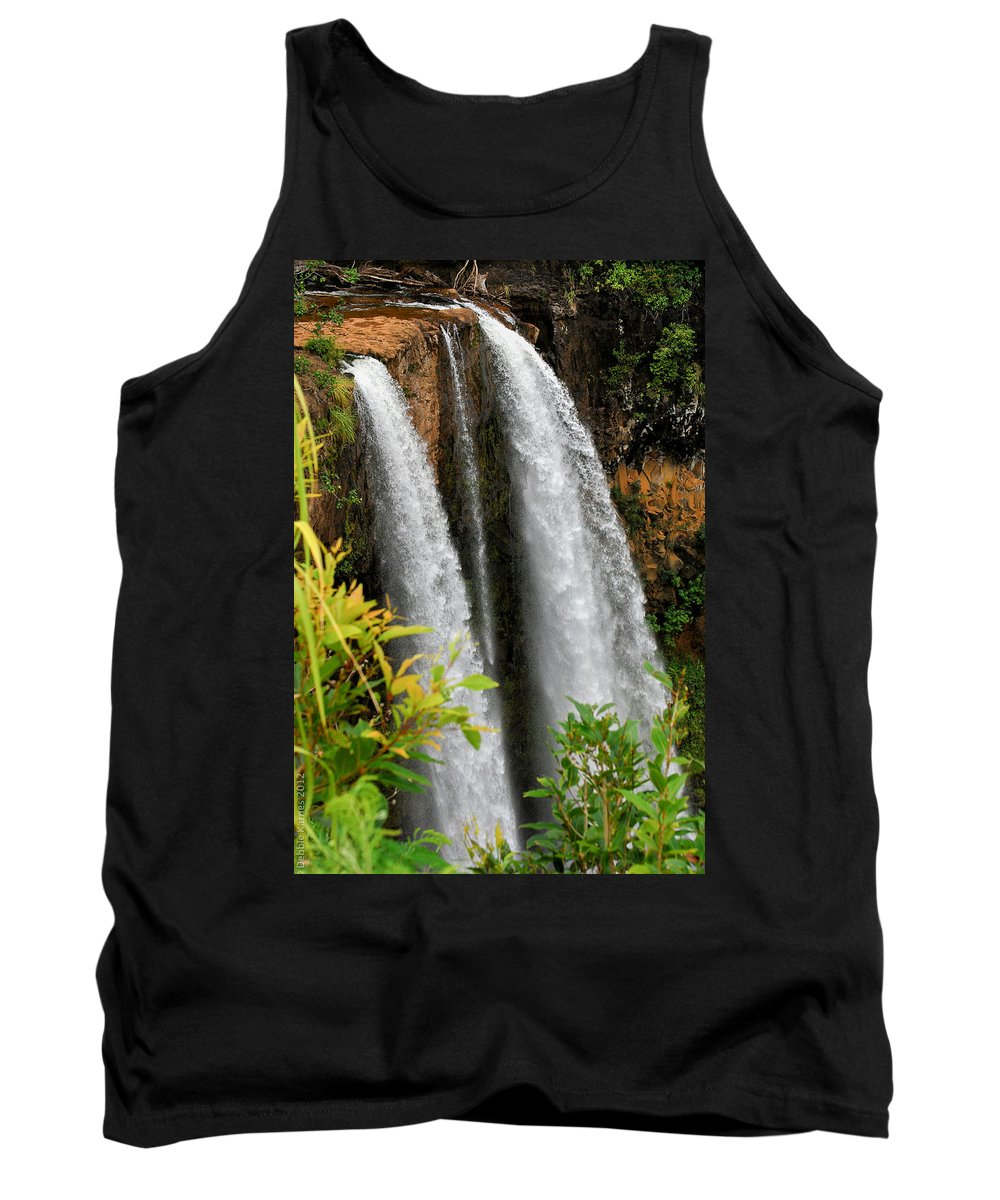 Waterfall Tank Top featuring the photograph Kauai Waterfall by Debbie Karnes