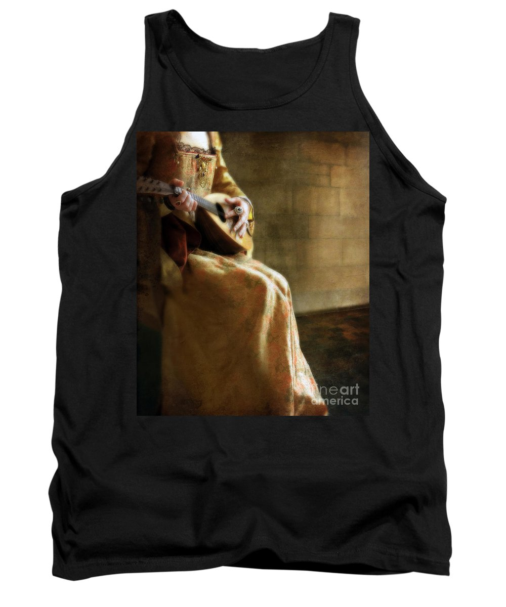Woman Tank Top featuring the photograph Lady In 16th Century Clothing With A Mandolin by Jill Battaglia