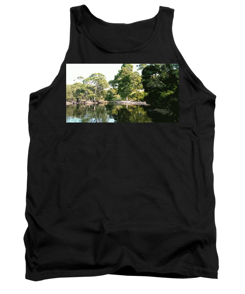 River Tank Top featuring the digital art Landscape Tree Reflections by Phill Petrovic