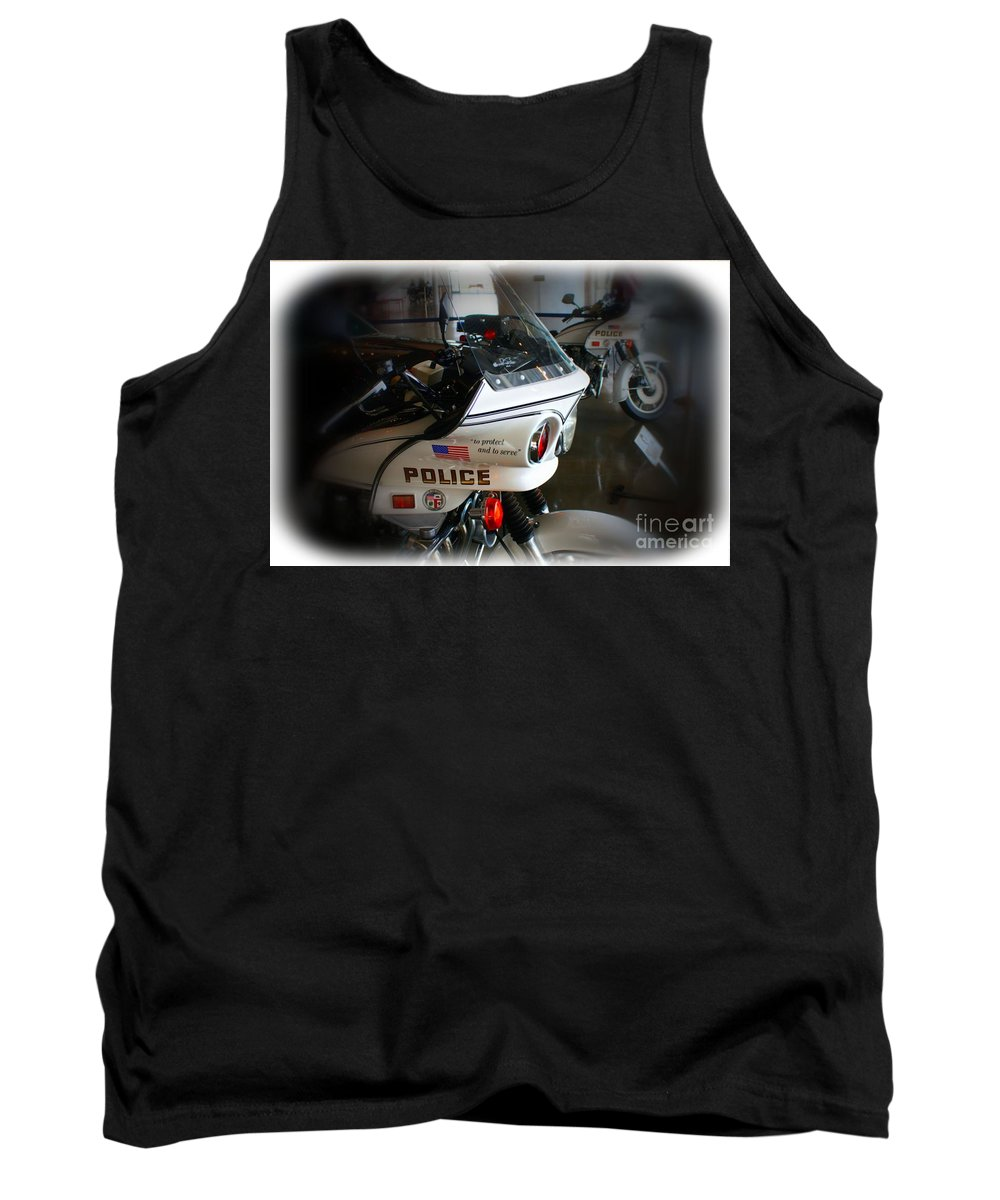 Los Angeles Tank Top featuring the photograph Lapd Motorcycle by Tommy Anderson