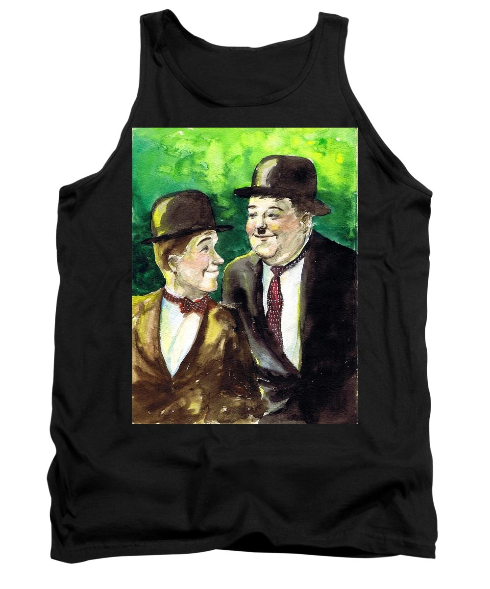 Nostalgia Tank Top featuring the drawing Laurel And Hardy by Mel Thompson