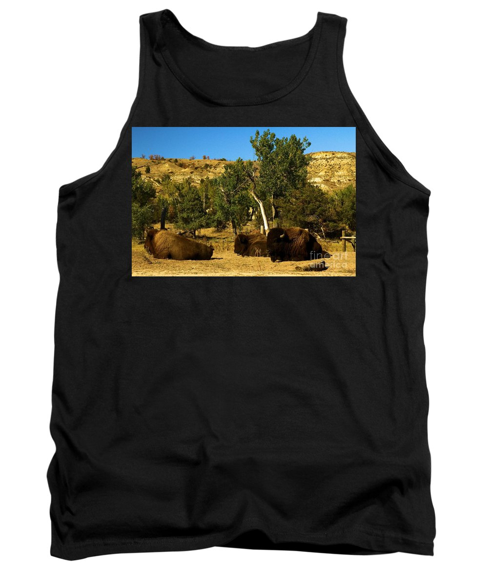Theodore Roosevelt National Park Tank Top featuring the photograph Laying Down On The Job by Adam Jewell