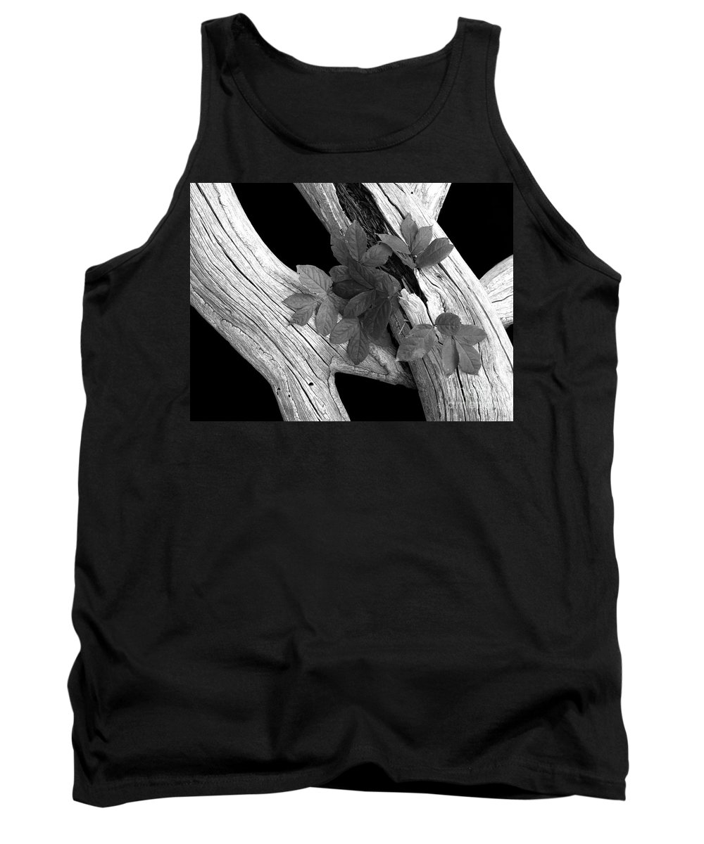 Driftwood Tank Top featuring the photograph Leaves And Driftwood Bw by Mike Nellums