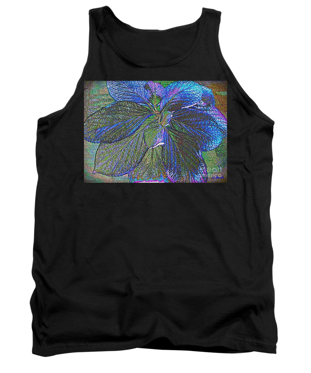 Leaf Tank Top featuring the photograph Leaves Of Blue by Leslie Revels