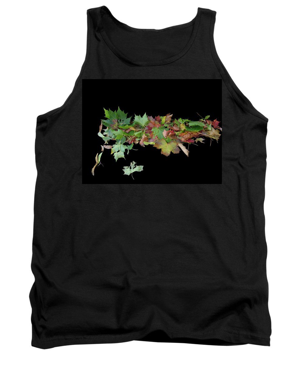 Leaves Tank Top featuring the photograph Leaves On Sidewalk by Martin Brockhaus