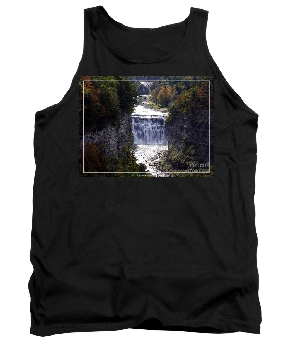 Letchworth State Park Tank Top featuring the photograph Letchworth State Park Middle Falls With Watercolor Effect by Rose Santuci-Sofranko