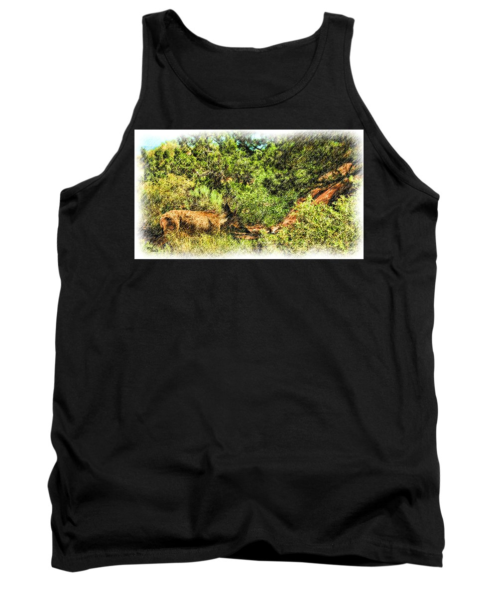 Deer Tank Top featuring the drawing Let's Eat by Adam Vance