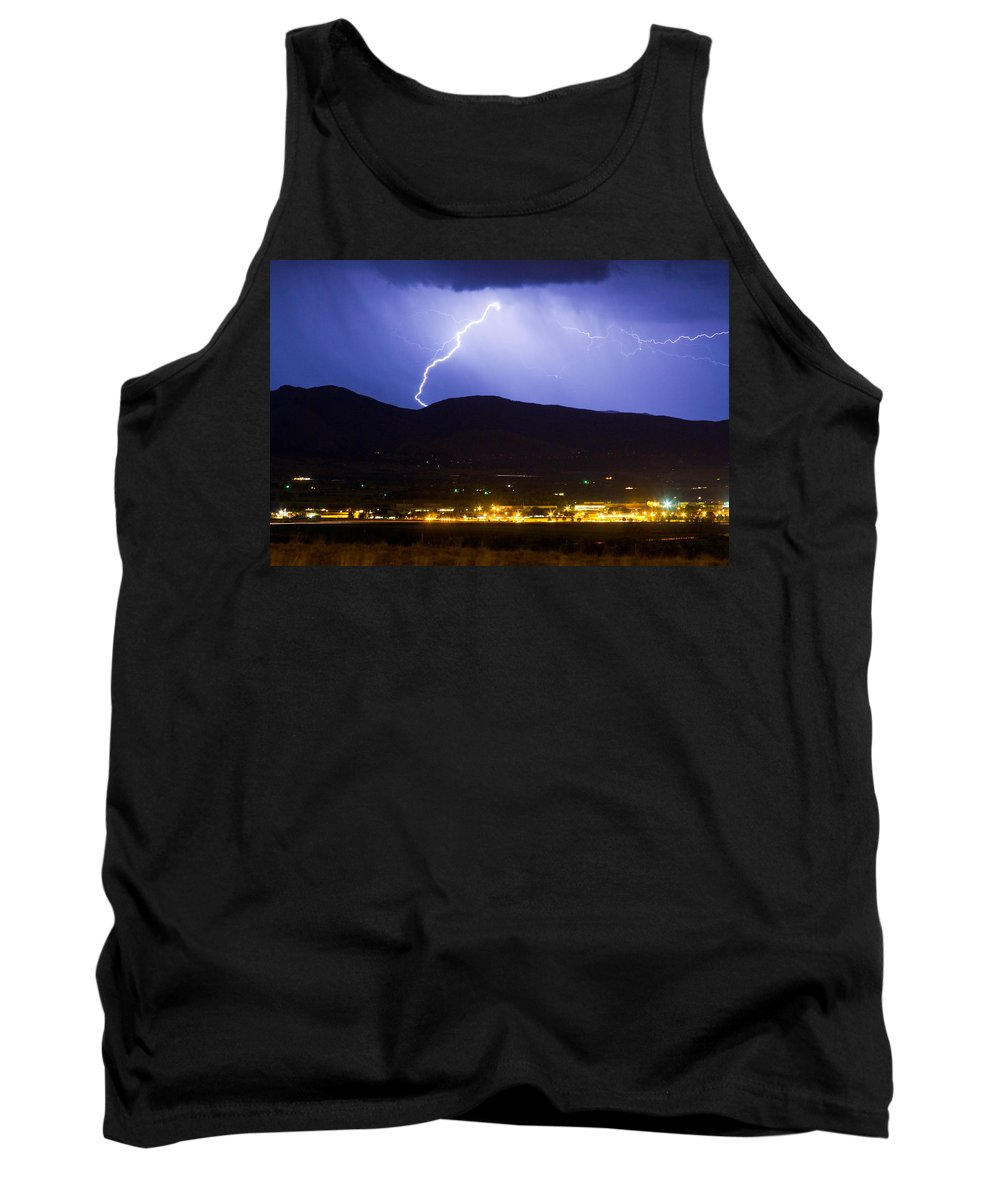 decorative Canvas Prints Tank Top featuring the photograph Lightning Striking Over Ibm Boulder Co 1 by James BO Insogna
