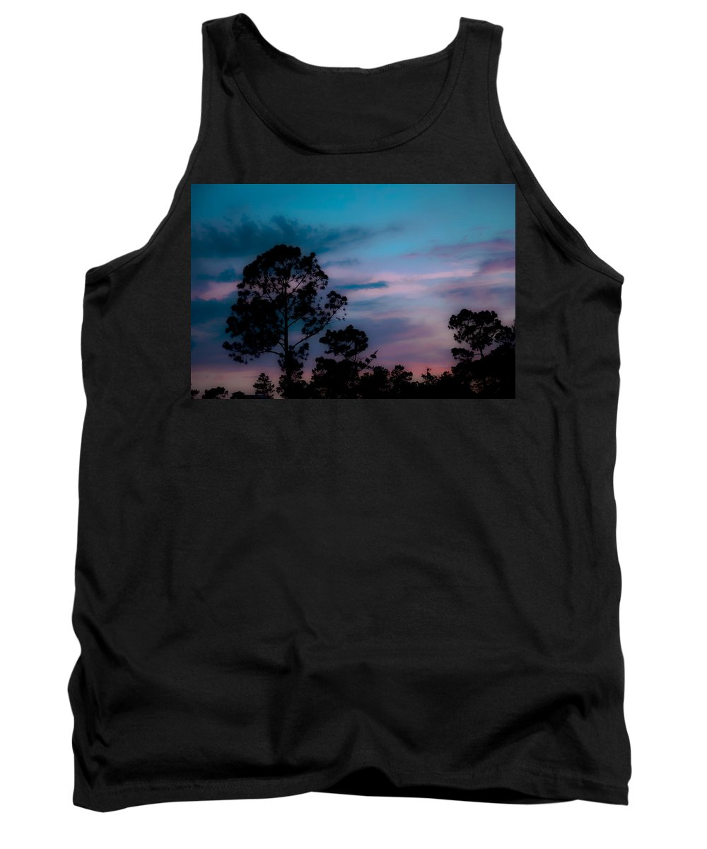 Sky Tank Top featuring the photograph Loblelly Pine Silhouette by DigiArt Diaries by Vicky B Fuller