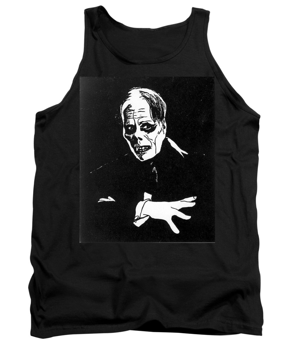 Portraits Tank Top featuring the drawing Lon Chaney As The Phantom by William Beyer
