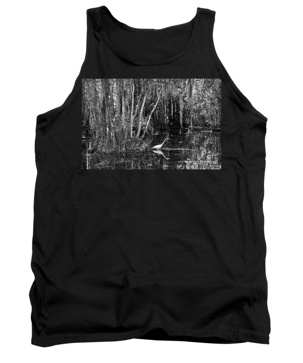 Scenic Tank Top featuring the photograph Lone Egret Black And White by Bruce Bain