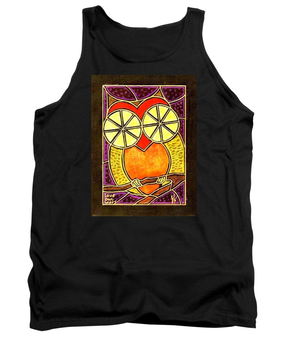 Love Tank Top featuring the painting Love OWLways by Jim Harris