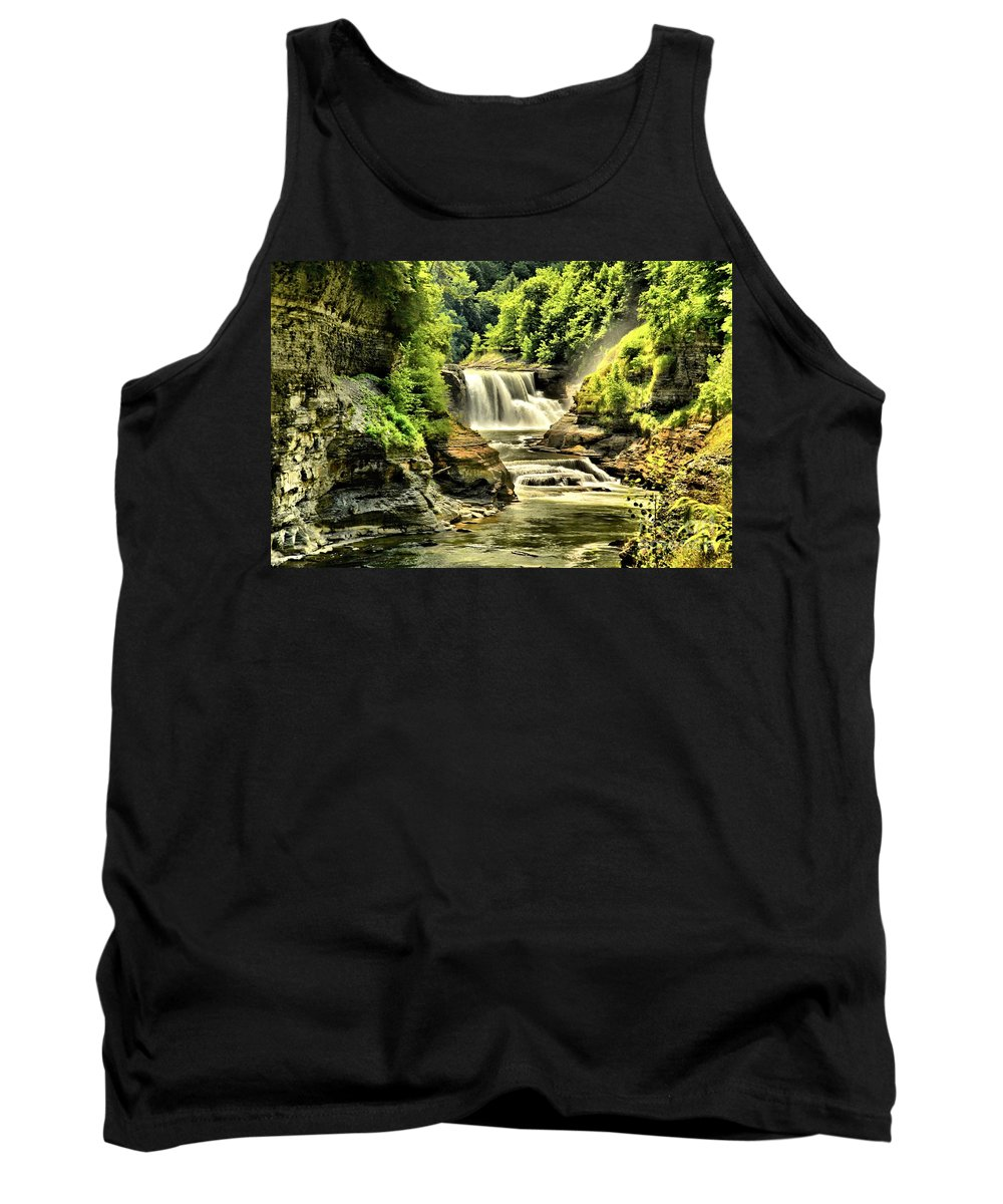 Letchworth State Park Tank Top featuring the photograph Lush Lower Falls by Adam Jewell