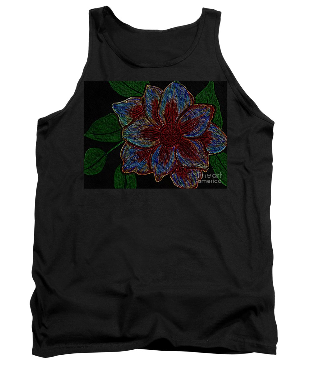 Magnolia Tank Top featuring the digital art Magnolia Abstract Sketch by Barbara Griffin