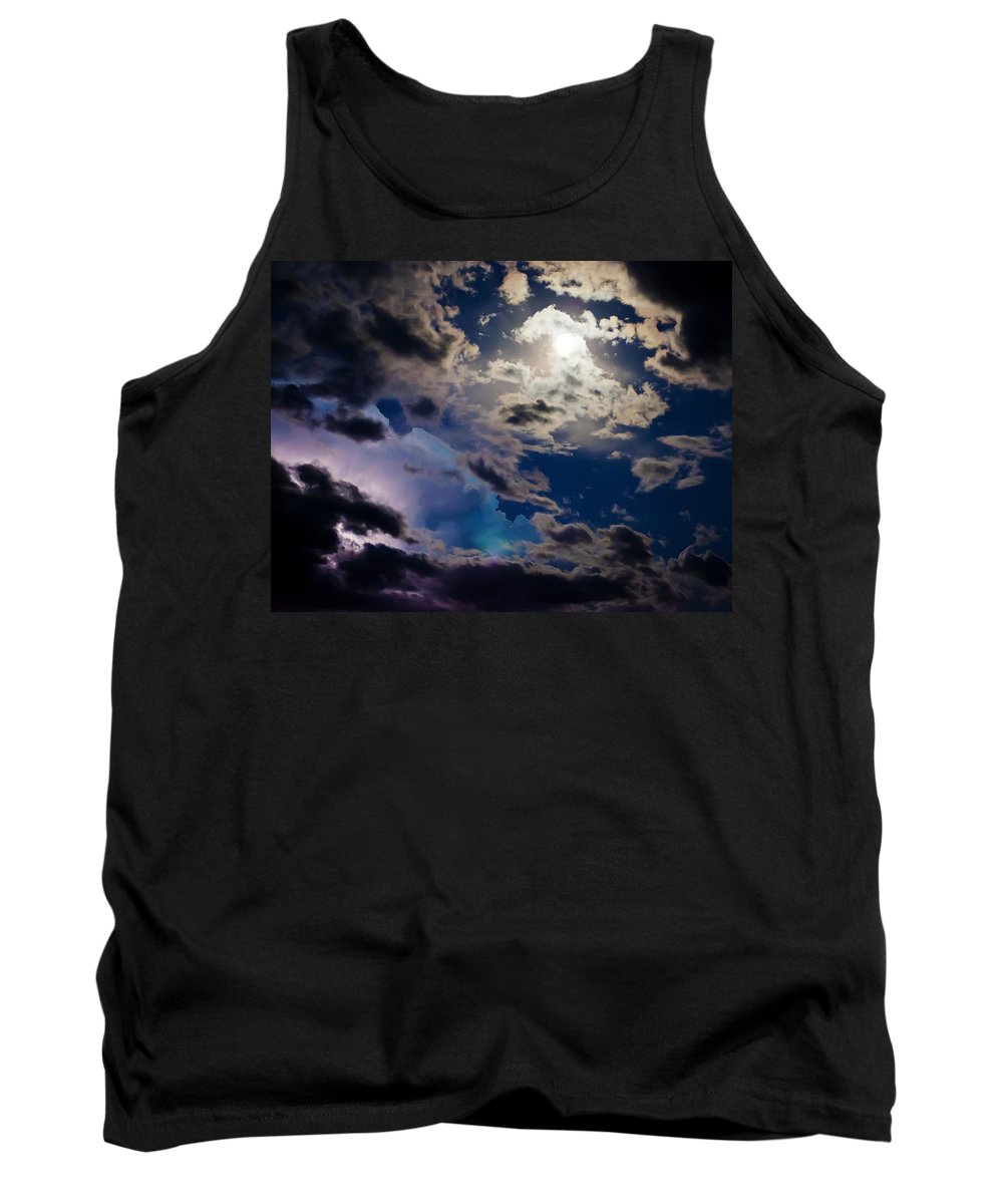 Moon Tank Top featuring the photograph Moonlit Clouds With A Splash Of Lightning by Beth Riser