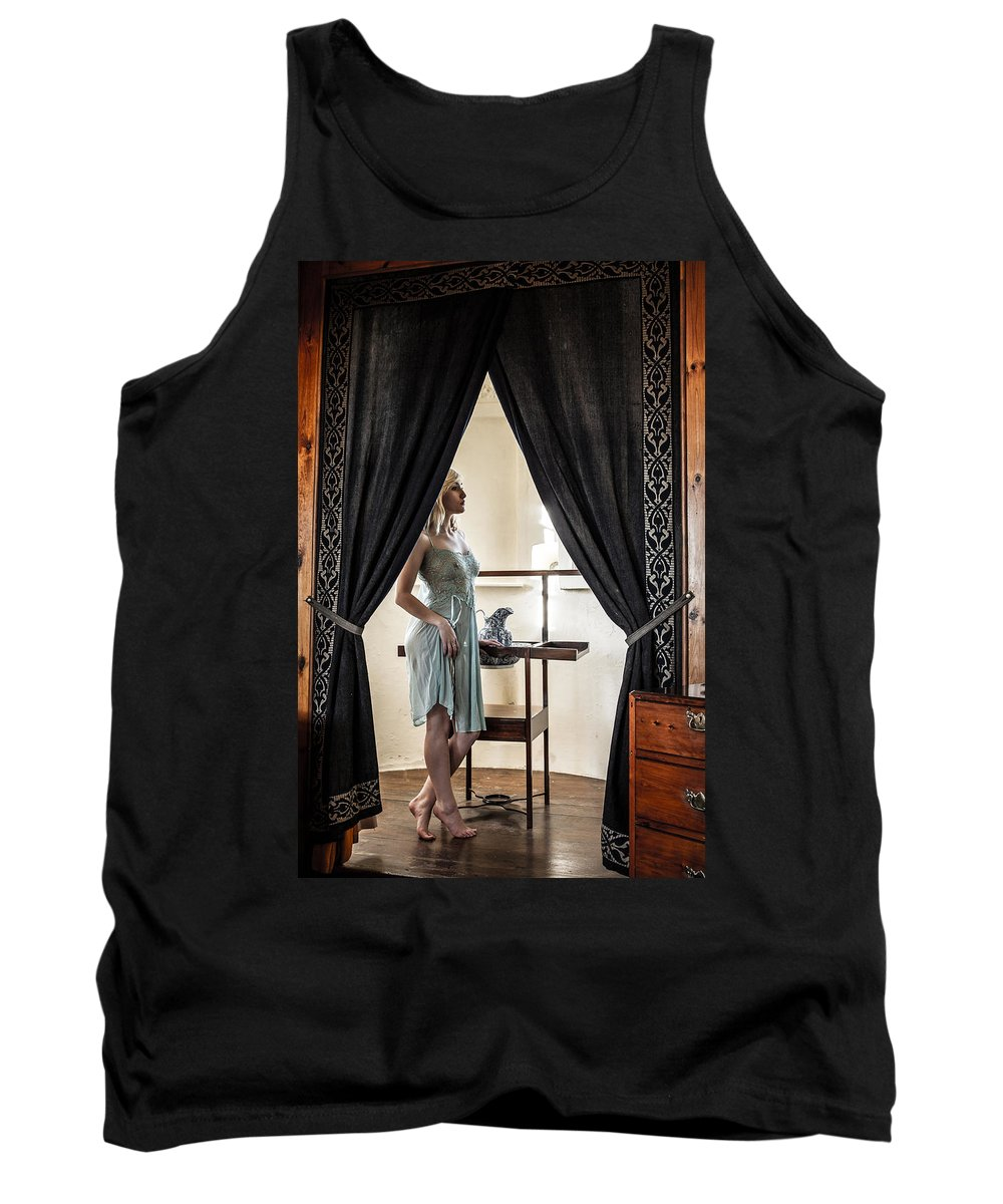 Beauty; Beautiful; Attractive; Sexy; Young; Female; Woman; Girl; Pretty; Dreamy; Antique; Washing; Model; Lingerie Tank Top featuring the photograph Morning Ritual by Howard Kennedy