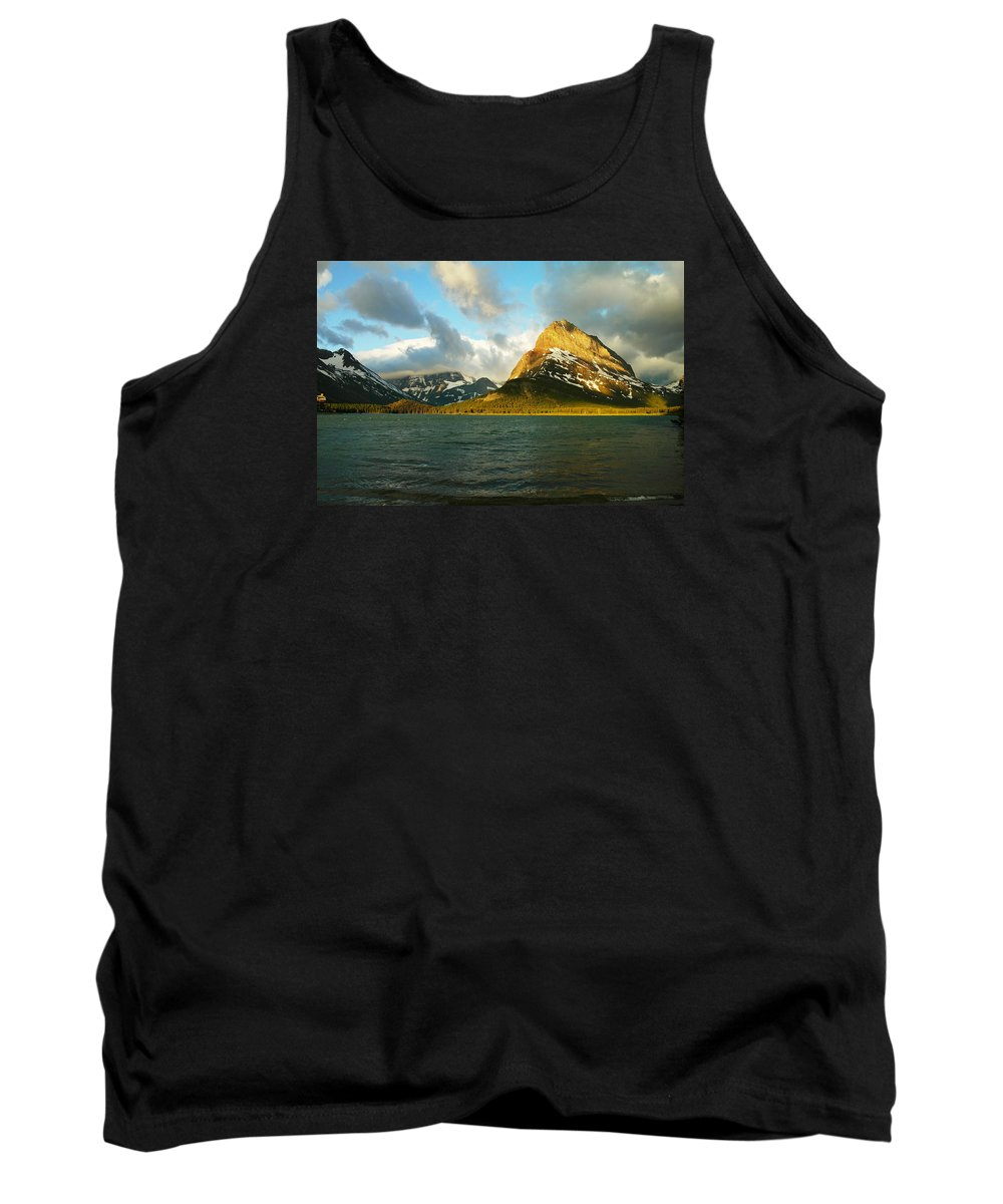 Mountains Tank Top featuring the photograph Mountains At Many Glacier by Jeff Swan