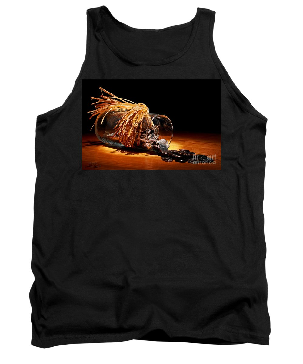 Change Tank Top featuring the photograph My Change Jar by Rebecca Morgan