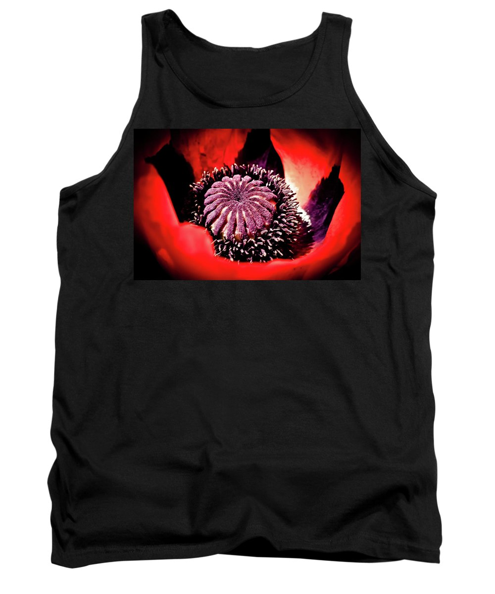 Poppy Tank Top featuring the photograph Nebulous Poppy by Sarah Wiggins