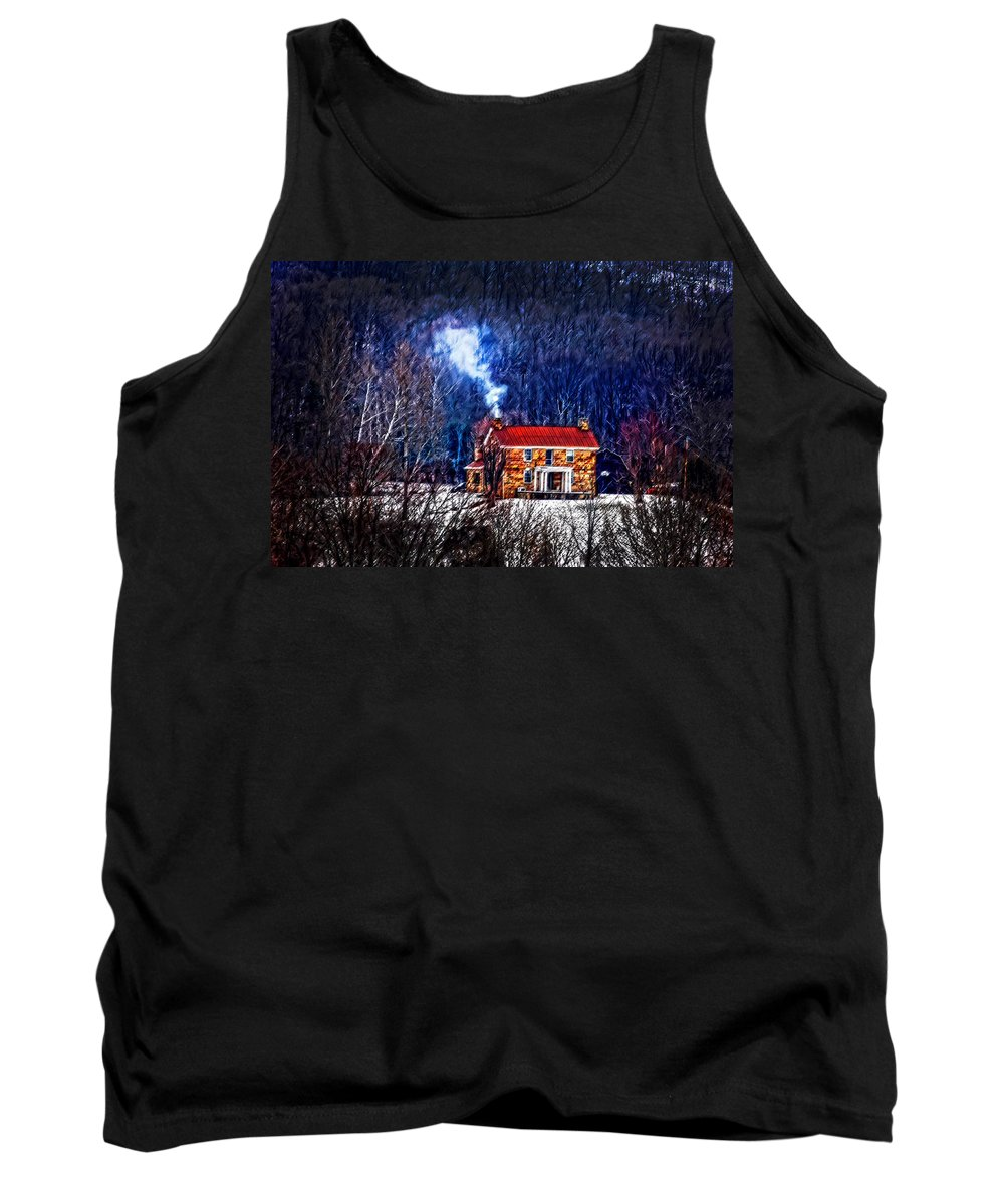 Old Stone Tank Top featuring the photograph Nestled In For The Winter by Randall Branham