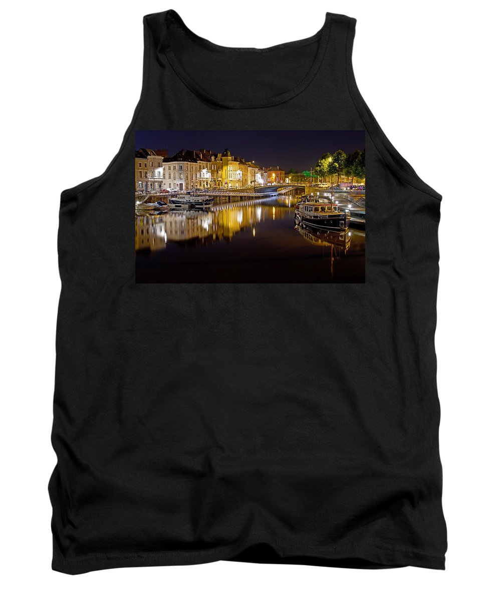 Europe Tank Top featuring the photograph Nighttime Along The River Leie by David Freuthal