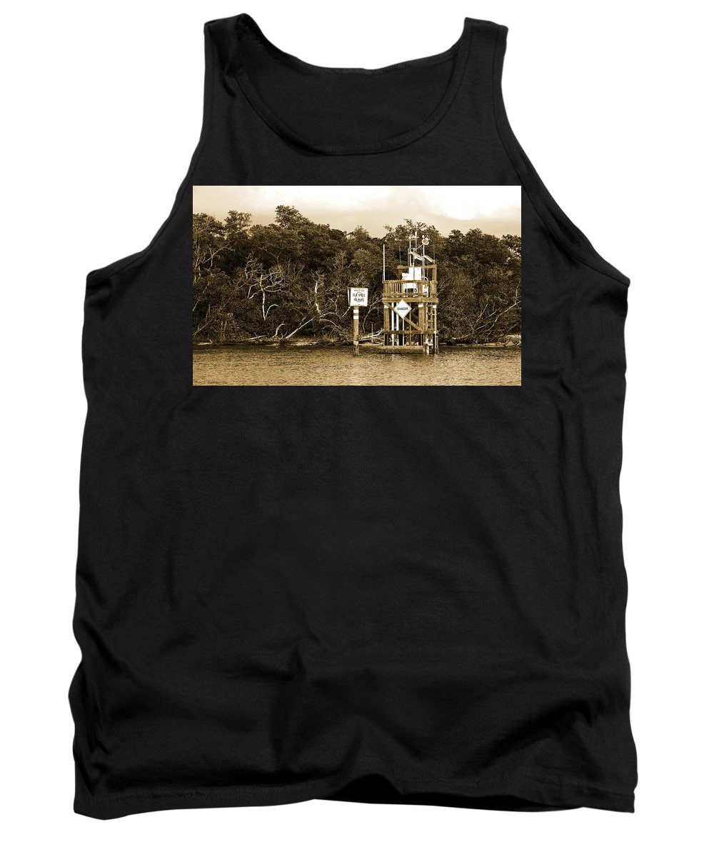 No Wake Sign Tank Top featuring the photograph No Wake by Christine Stonebridge