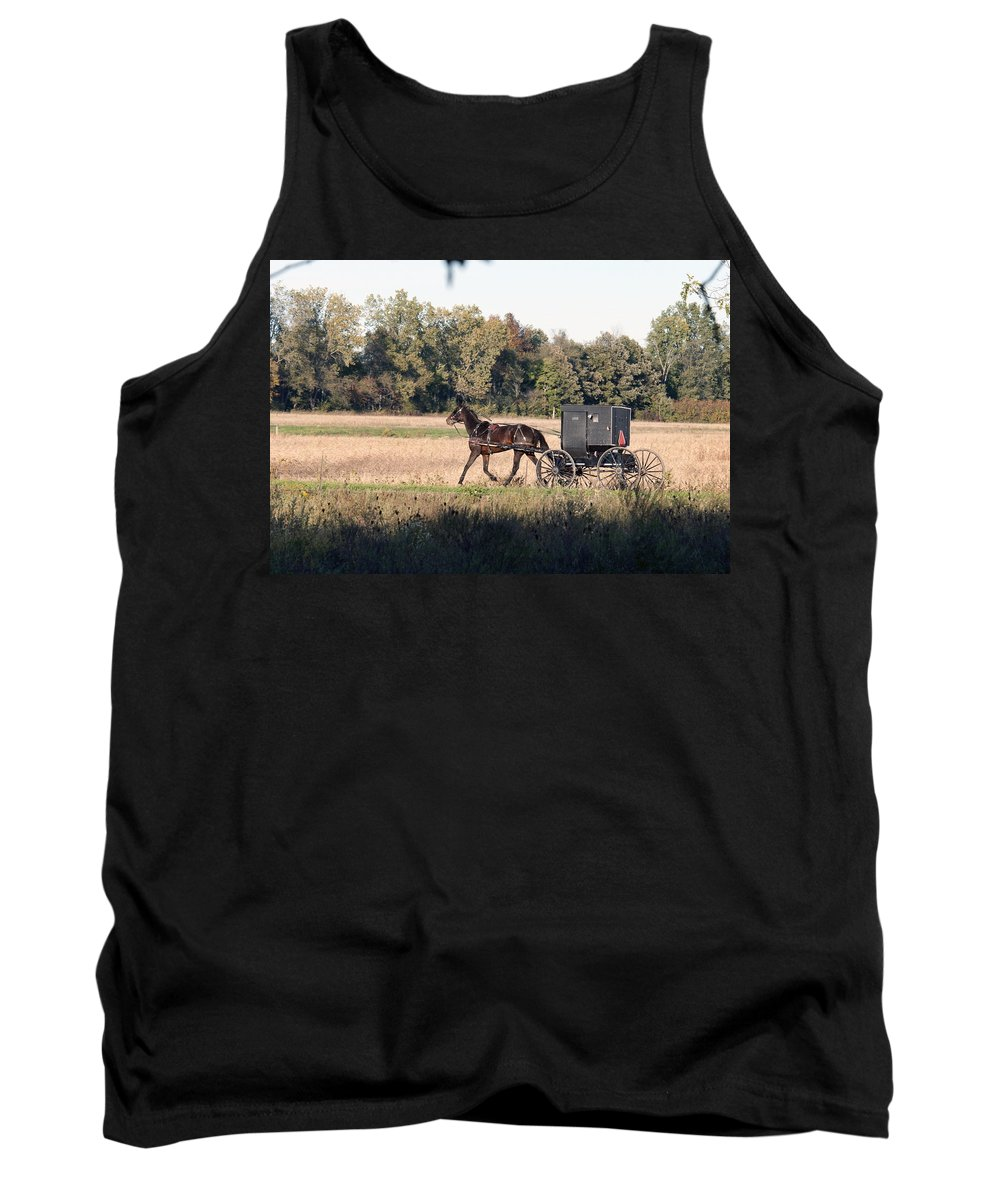 Amish Tank Top featuring the photograph October Road by David Arment