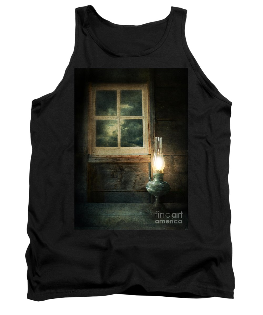 House Tank Top featuring the photograph Oil Lamp On Table By Window by Jill Battaglia