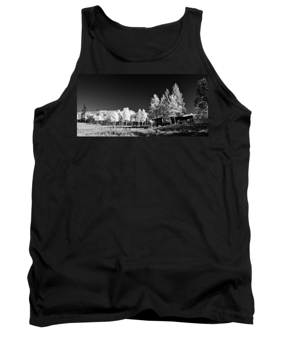 Black & White Tank Top featuring the photograph Old Cabin In The Aspen by Ellen Heaverlo
