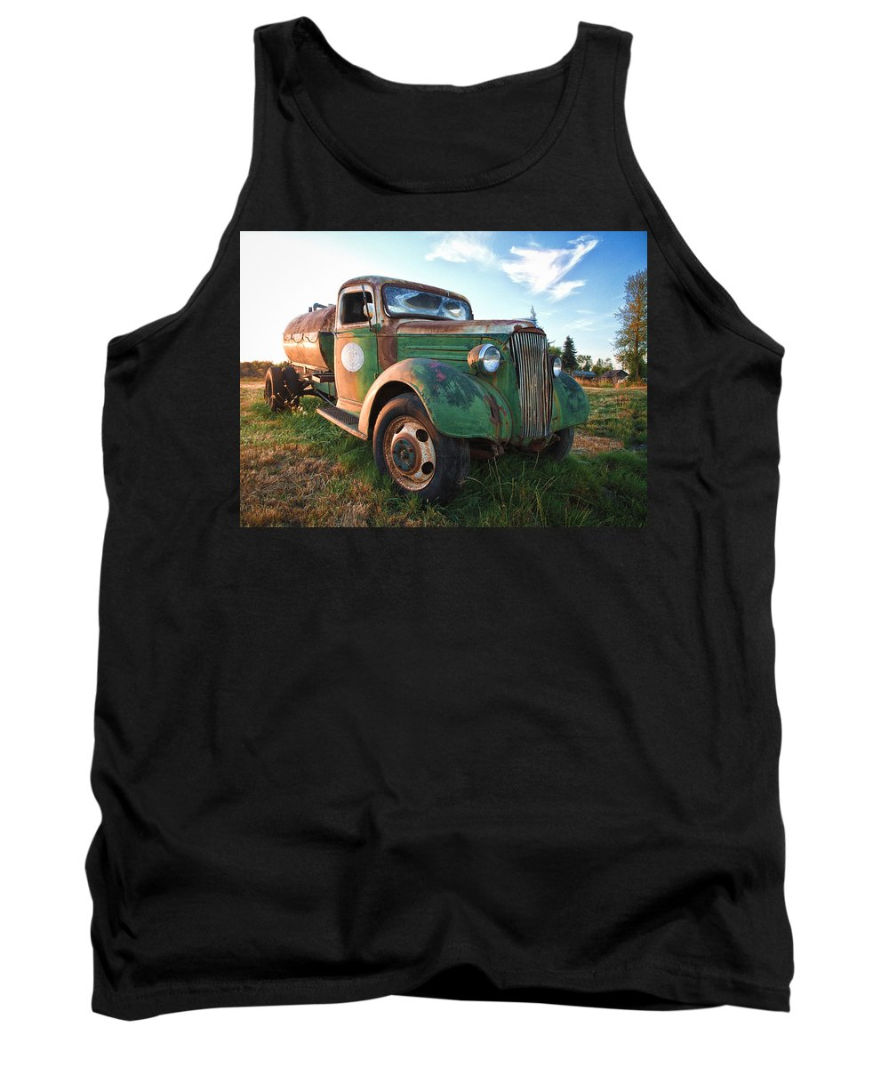 Truck Tank Top featuring the photograph Old Chevy Tanker Truck by Steve McKinzie