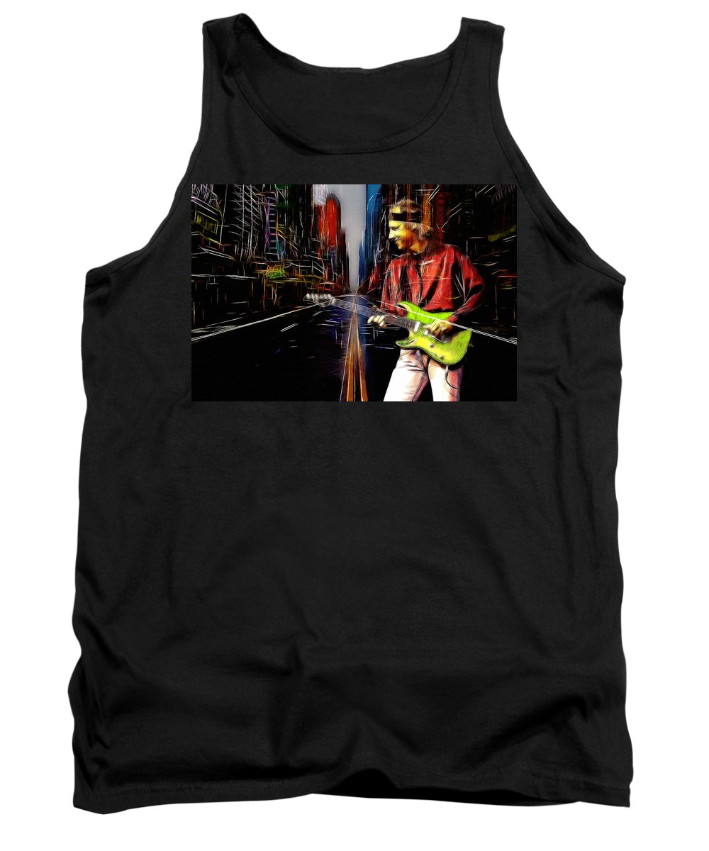 Dire Straits Mark Knopfler Phil Palmer Rock Band Every Street 1991 Expressionism Tank Top featuring the painting On Every Street by Steve K