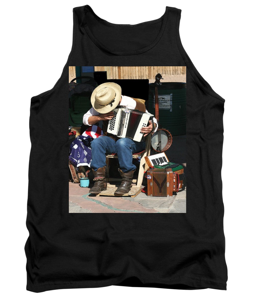 Music Tank Top featuring the photograph One Man Band by Terry Fiala