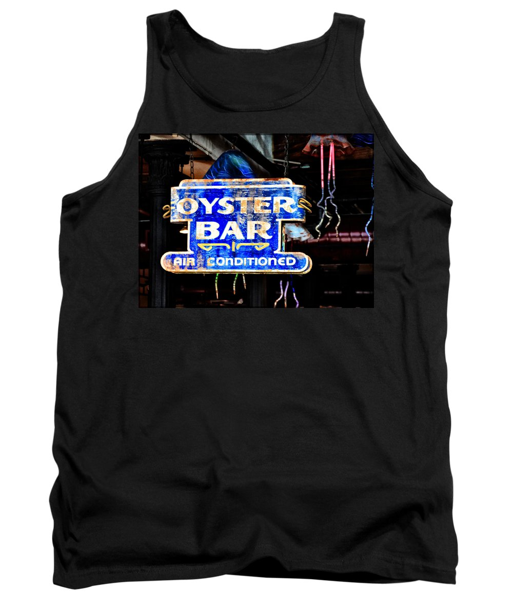 Oyster Bar Sign Tank Top featuring the photograph Oyster Bar Sign by Bill Cannon