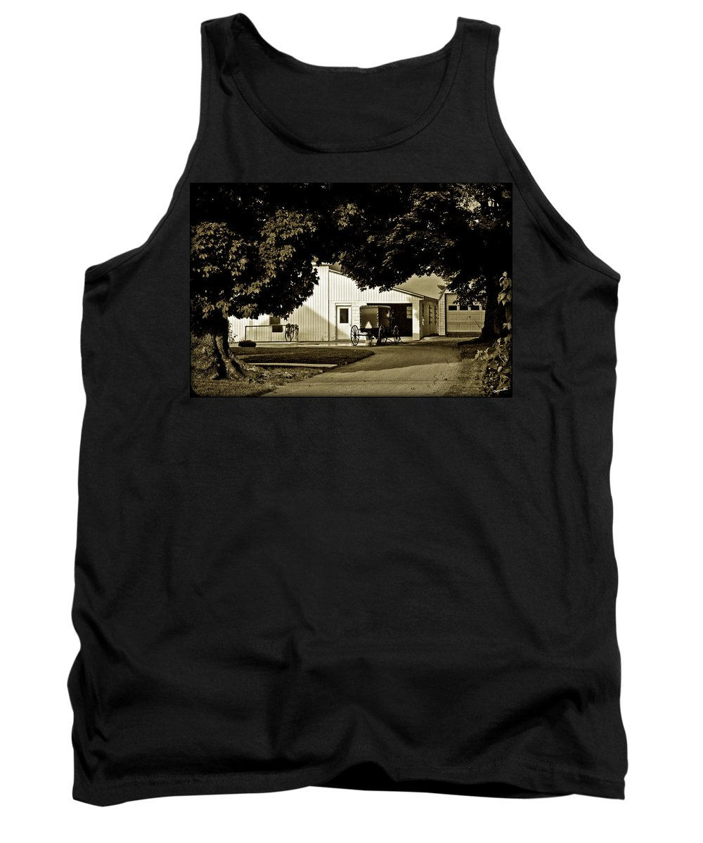 Buggy Tank Top featuring the photograph Parked Buggy - Lancaster Pennsylvania by Madeline Ellis