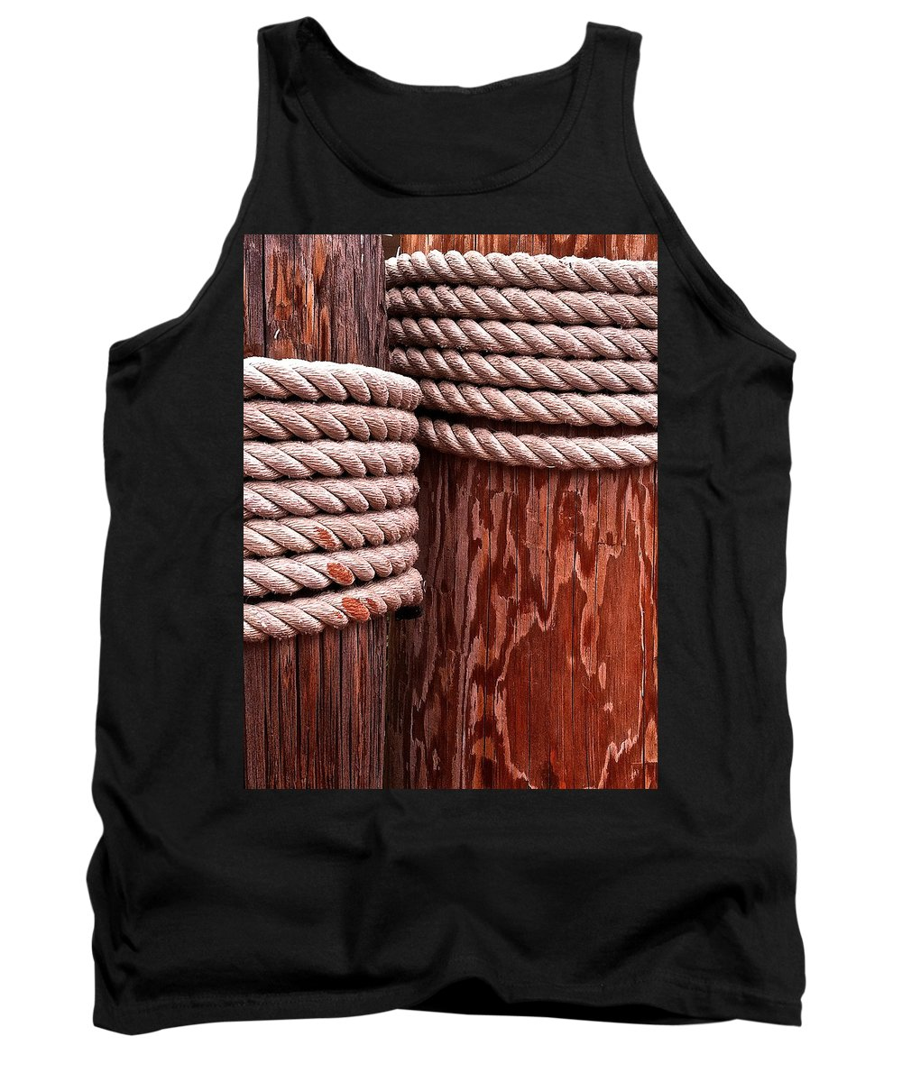 Pier Tank Top featuring the photograph Pier Ropes by Bill Owen