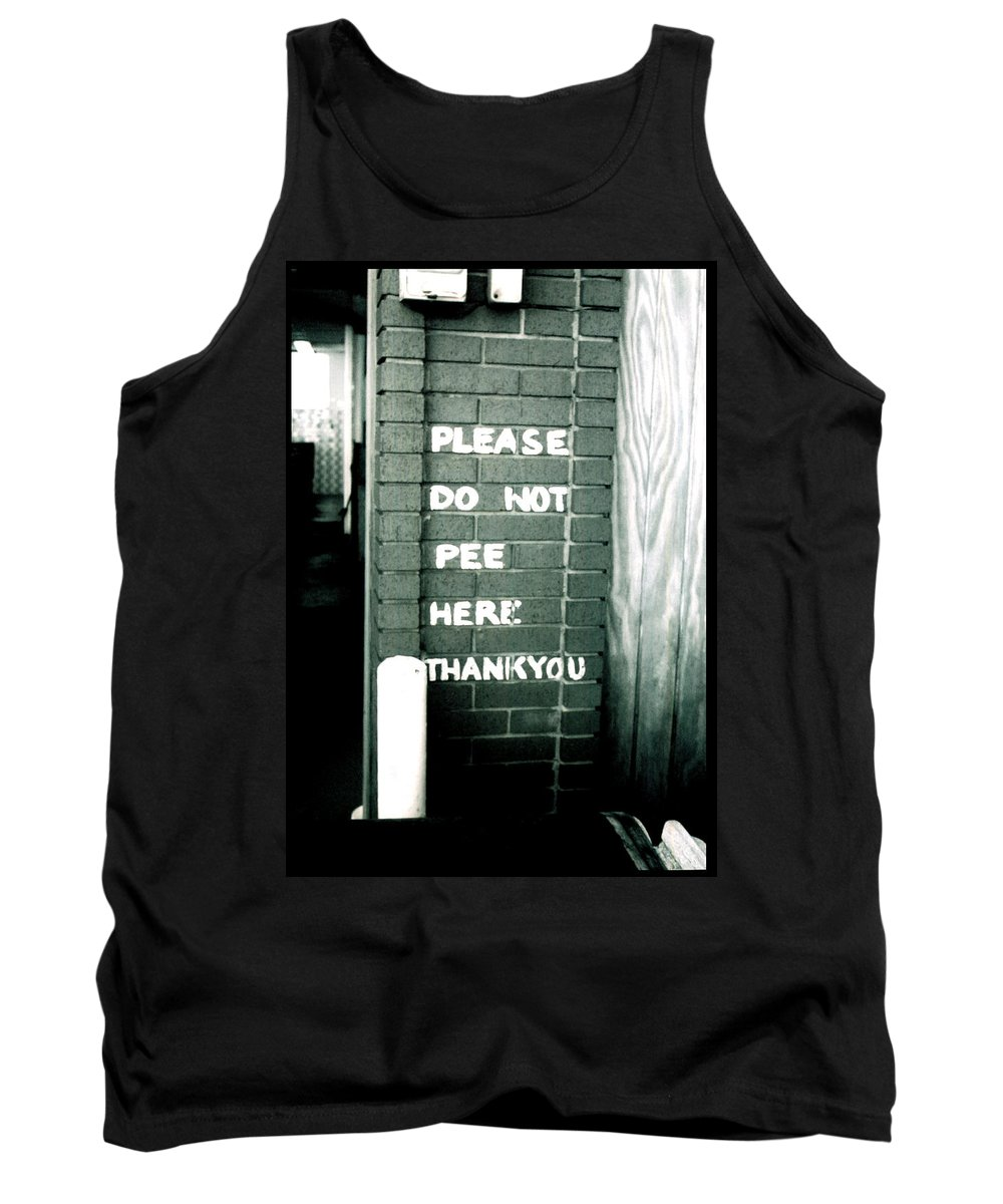 Folk Art Tank Top featuring the photograph Please Do Not Pee Here Thank You by Doug Duffey