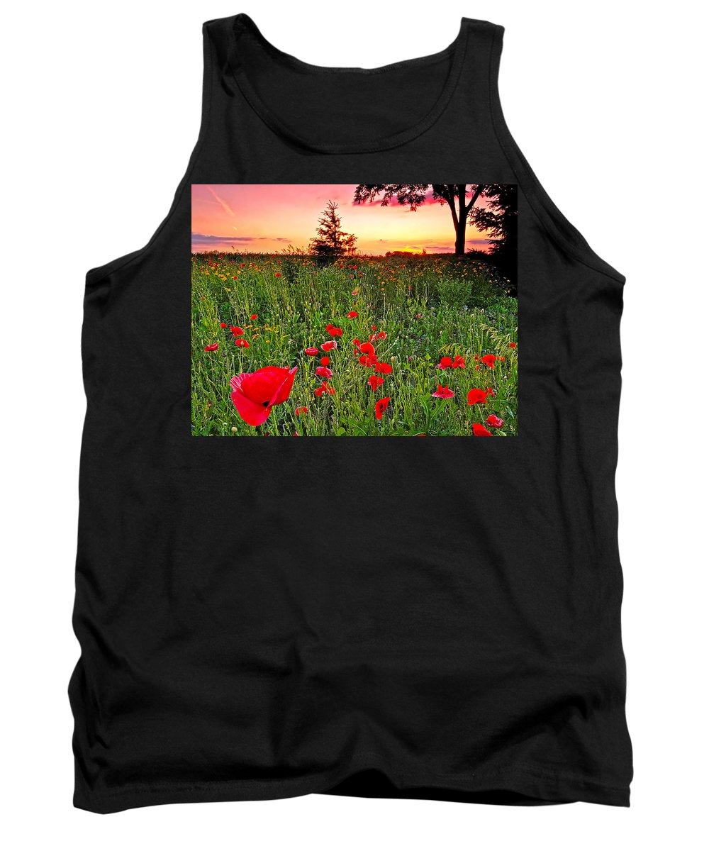 Poppies At Sunset Tank Top featuring the photograph Poppy Patch And Previsualization by Randall Branham