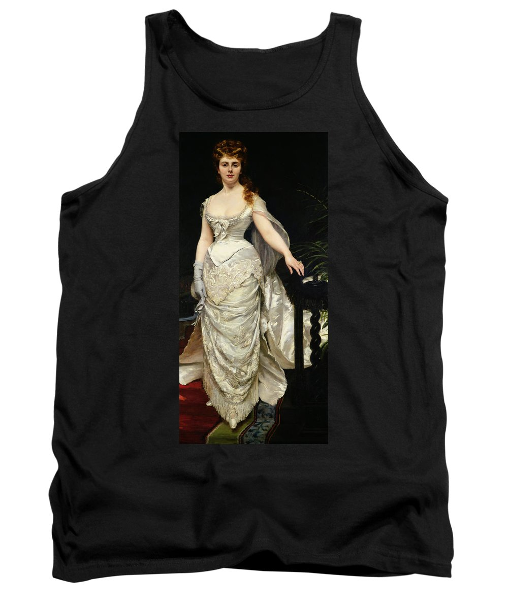 Portrait Of Mademoiselle X Tank Top featuring the painting Portrait Of Mademoiselle X by Charles Emile Auguste Carolus Duran